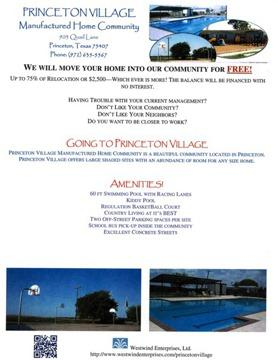 Relocate Your Home To Princeton Village MHC